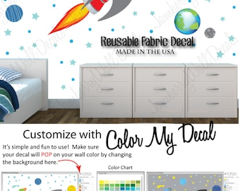 Rocket Decal, Space Wall Decal, Planet with Moon, Boys Wall Decal (Sk Rocket with Planets) SKR