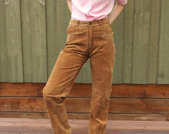 Vintage Womens Caramel Brown Leather Suede Pants Camel Brown Suede Trousers