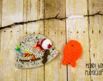 Fisherman Crochet Hat Gone Fishing Crochet Hat Fisherman Baby Hat with Fish Newborn fisherman hat and fish