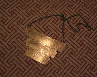 Hammered Antiqued Brass Bib Necklace