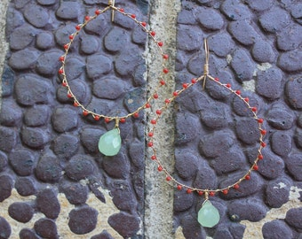 Wrapped gold hoops with coral and chalcedony