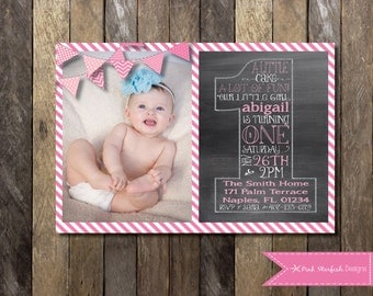 Chalkboard First Birthday Invitation, Birthday Invitation, One, 1st Birthday Invitation, Chalkboard, Printable Invitation, Birthday Invite