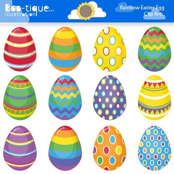 Easter Eggs Clipart Clip Art For Instant Download Rainbow Egg Bright Colours Spring