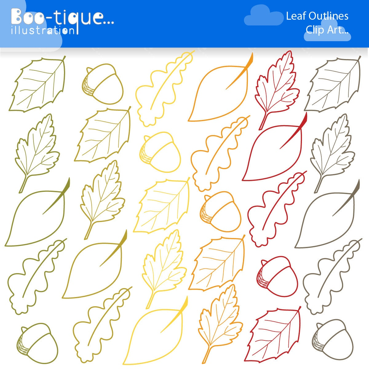 Fall Leaves Digital Clipart. Autumn Clipart. Leaf Outlines ...