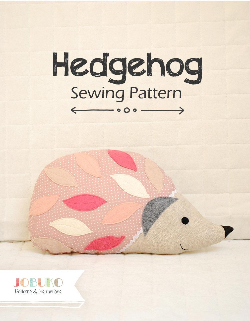 Animal Pillow Patterns To Sew : Hedgehog PDF Sewing Pattern Pillow Tutorial Stuffed Animal