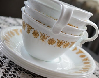Set of 4 Corelle Butterfly Gold Flat Hook Open Handle Cups w Saucers Corning Mugs Tea Coffee Lovely Set Unused Condition Also Avail in Pyrex