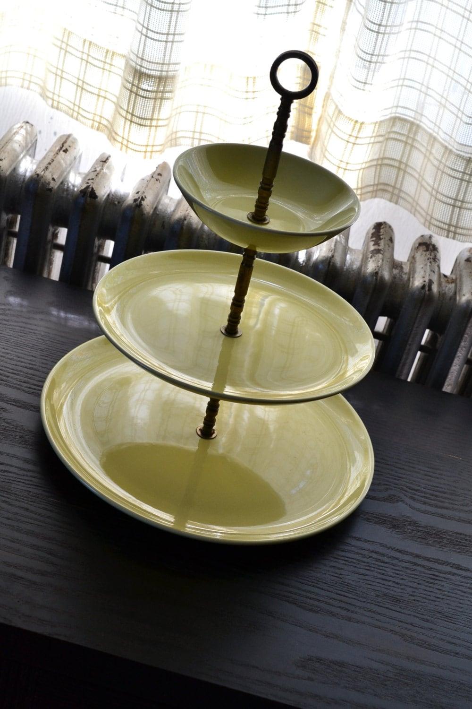 3 tiered serving tray midcentury decor by applepickervintage. Black Bedroom Furniture Sets. Home Design Ideas
