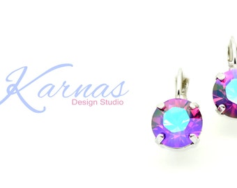 FUCHSIA SHIMMER Swarovski 10mm Drop Earrings *Pick Your Setting *Karnas Design Studio *Free Shipping*