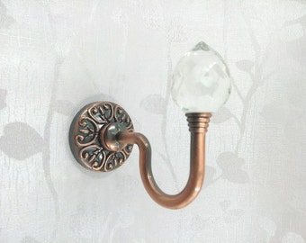 Glass Decorative Hooks / Wall Hooks Clear Silver Metal / Crystal Curtain Tieback Hooks / Coat Hangers / Shabby Chic French