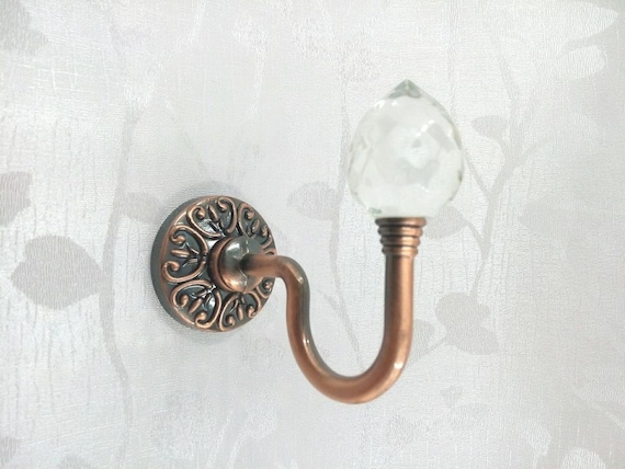 Decorative Glass Coating : Glass decorative hooks wall clear silver metal