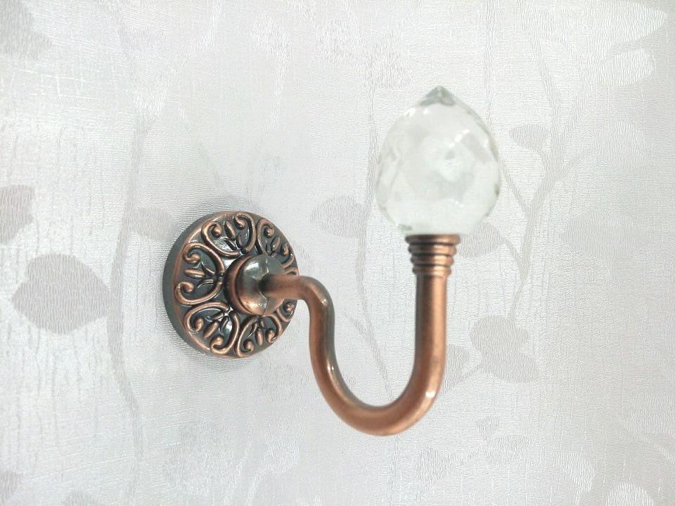 Glass Decorative Hooks Wall Hooks Clear Silver Metal