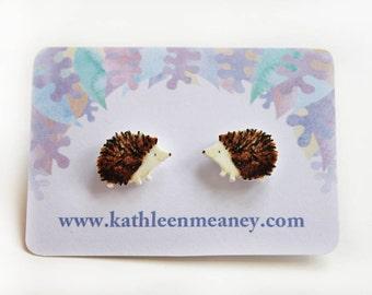 Hedgehog stud animal earrings