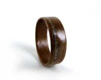 Walnut Wood Ring, Reclaimed Marble Inlay, Wood Wedding Ring, Wood Engagement Ring, Men's Wood Ring, Woman's Wood Ring, Bent wood Ring