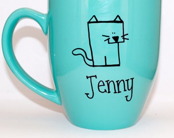 Hand Drawn Cat Name Mug (Customizable)