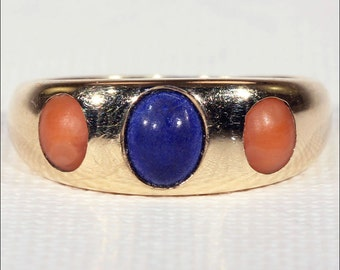 Antique Victorian Coral and Lapis Ring in 18k Gold, c. 1880