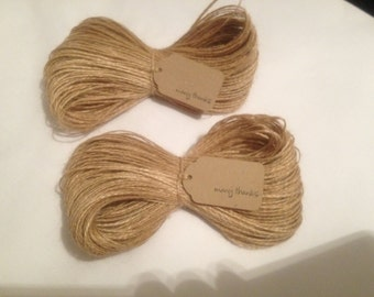100 Mtrs Jute Twine Natural Hessian String Sisal Shabby Chic Burlap Thread