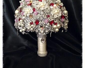 Ruby Red Wedding Brooch Bouquet. Deposit on Crystal Bling Pearl Brooch Bridal Bouquet. Heirloom Diamond Broach Bouquet