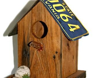 Rustic Birdhouse / Chestnut Birdhouse / Primitive Birdhouse / License Plate Birdhouse / Recycled Birdhouse - Fathers Day