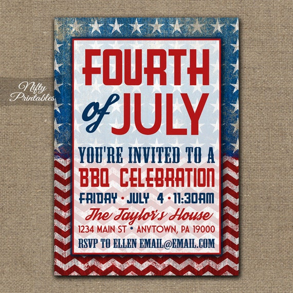 4th Of July Invitations - Shabby Printable BBQ July 4th Invitations - Independence Day Party Invites - Flag Red White & Blue Chevron Stars