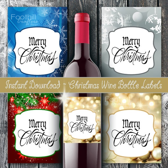 PRINTABLE Wine Labels Sparkly Christmas Holiday Labels Print