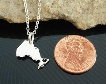 Tiny Sterling Silver Ontario Necklace / Custom Heart / Small Ontario Necklace / Love Ontario  / Province Necklace / Ontario Wedding
