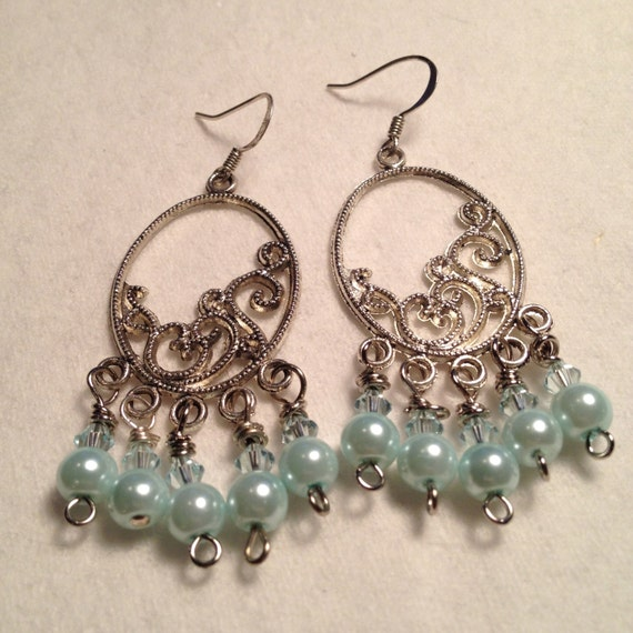 Silver plated earrings with baby blue pearls and round glass beads