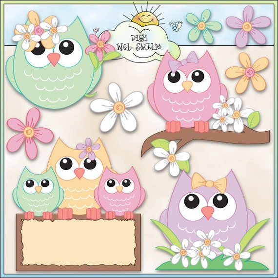 Soft Spring Owls 1 Digi Web Studio Clip Art Download by