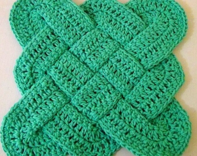 Hot Pad / Trivet - Celtic Knot Design - Green
