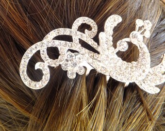Wedding Peafowl Hair comb,Bridal hair comb Tiara, Rhinestone Hair Comb, Crystal Hair Comb, hair accessory, Brooch Comb, Wedding Jewelry #3
