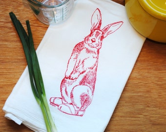 Red Rabbit Flour Sack Towel - Screen Printed - Cotton Kitchen Towel - Eco Friendly Woodland Animals Towels - Hand Towel Cup Towel