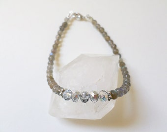 Labradorite Swarovski Beaded Gemstone Bracelet