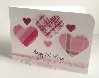 "Simple elegant handmade love heart Card 'Happy Valentines' card with envelope 6""x4"""