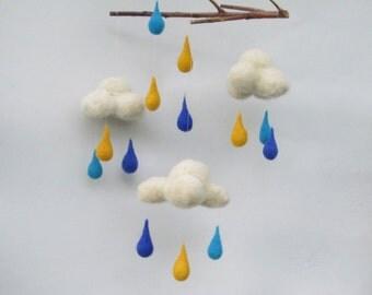 Blue MobileYellow turquoise raindrops Felt cloud mobile Living room Bedroom decor Baby boy mobile Spring decor Nursery decor Childrens room