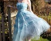 Stunning 1950s aqua tulle ruffled prom dress