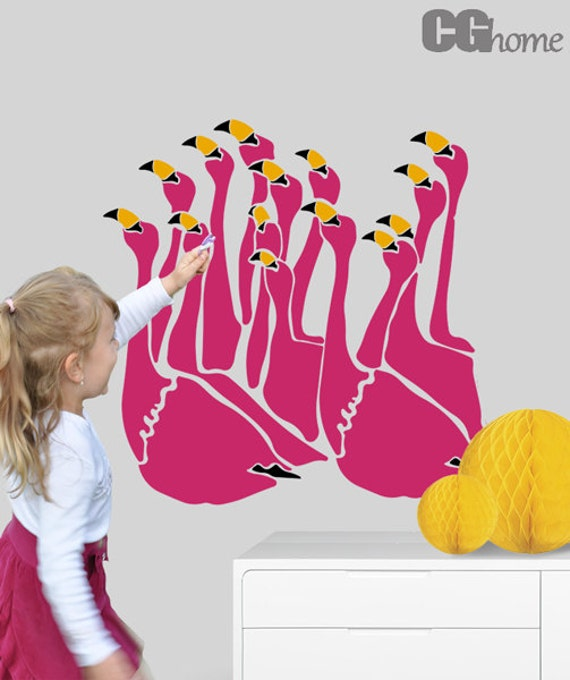 decal FLAMINGO magenta wall decal vinyl sticker CGHOME