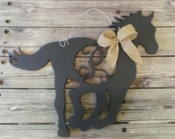 Painted Horse Door Hanger with Connected Single Letter - Vine Script Initial
