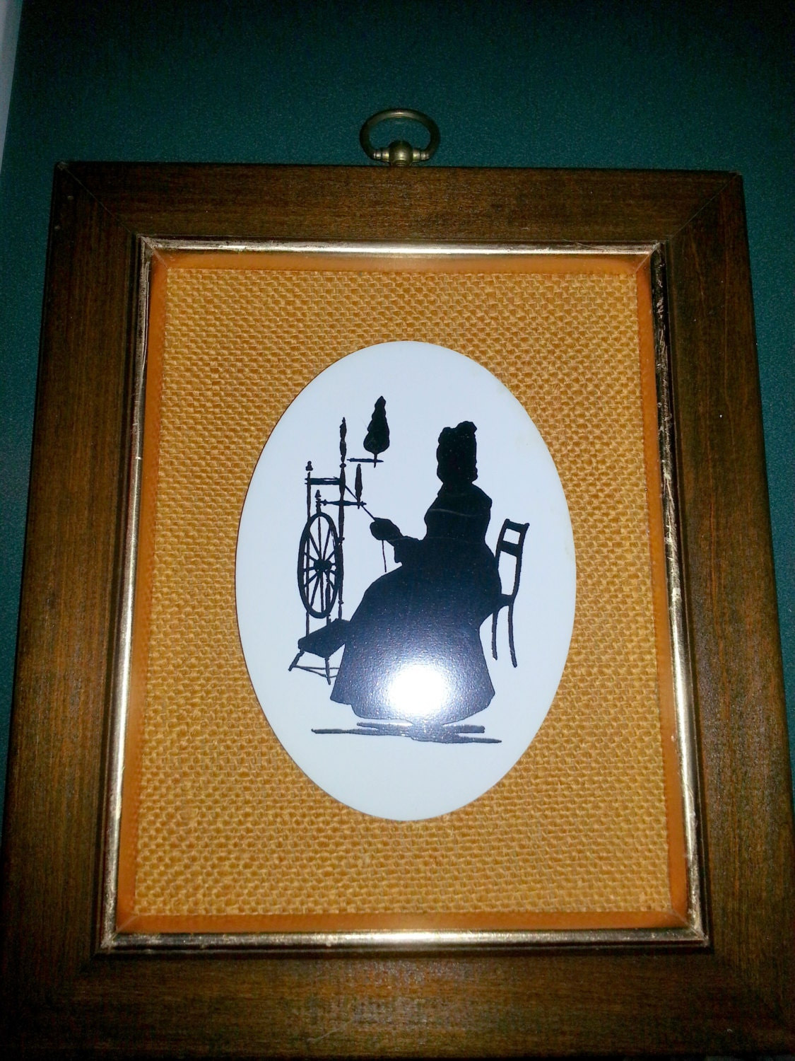 Sale vintage silhouette wall decor woman in rocking chair for Wedding dress shadow box for sale
