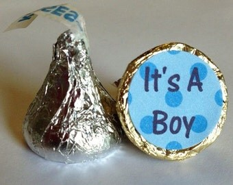 Blue Spots Dots ~ Its A Boy ~ 108 Hershey Kiss Candy Label Stickers