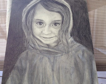Pencil portrait custom  from photo 9x12 of pets or people