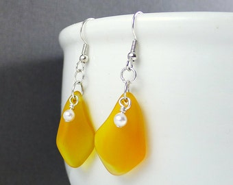Yellow earrings with white pearls yellow sea glass earrings seaglass jewelry seaglass earrings sea glass jewelry handmade earrings beach