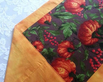 Beautiful Fall/Thanksgiving Table Runner in a Pumpkin Print and Orange Accents