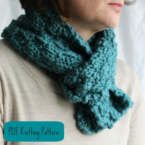Quick Men s Scarf Knitting Pattern : Items similar to KNITTING PATTERN Scarf / Cowl / Easy Quick Knit Project / Wo...