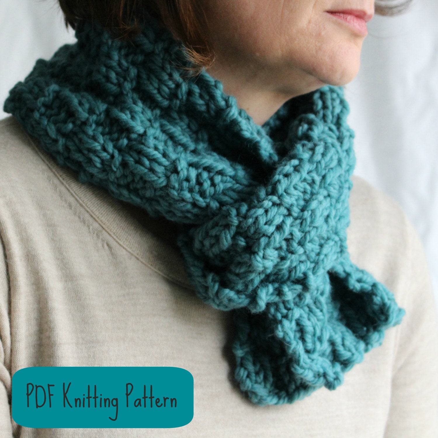 Fast Knit Scarf Pattern : KNITTING PATTERN Scarf / Cowl / Easy Quick by FiftyFourTenStudio