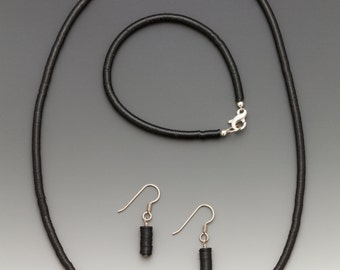 14 Cows Vintage Record Bead Jewelry: BLACK EARRINGS