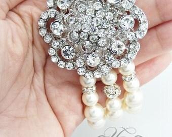 Wedding Jewelry Swarovski Bracelet Triple strands Swarovski Pearl Rhinestone Flower Bracelet Bridal Jewelry Bridesmaids jewelry