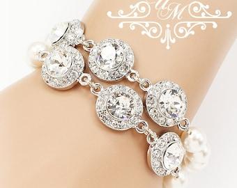Wedding Jewelry Bracelet Double Strands Swarovski Pearl & Crystal Bracelet Bridal Bracelet Bridal Jewelry Bridesmaids Bracelet - ORLA