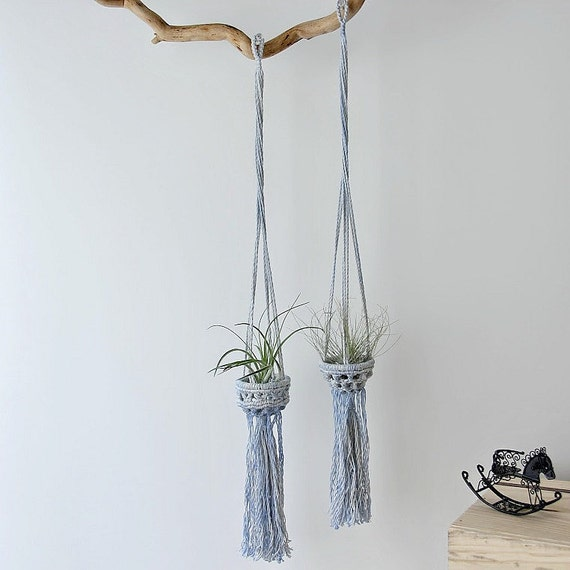 Air plant wall holder blue macrame air plant holder baby boy nursery wall by - Elegant ways to display air plants in your home ...