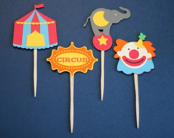 Circus Theme Cupcake Toppers - Set of 12