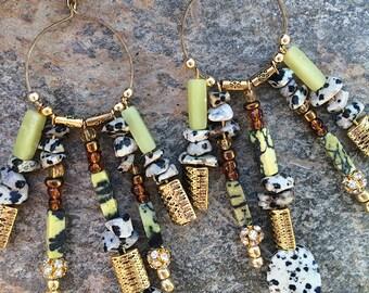 Handmade Tribal Earrings, Boho, Beaded, Sexy, Stone, Festival, Hoop Earrings, Festival, Dangle, Celebrity (Summertime Sadness Earrings)
