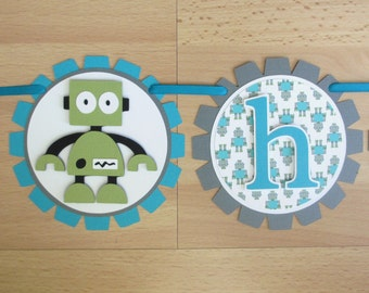 Robot Birthday Party Shower Banner Sign Garland Blue Turquoise Blue Grey Green Teal